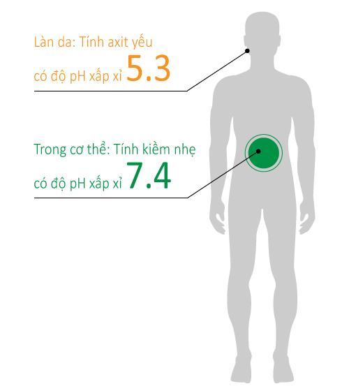 Cần phân biệt giữa pH trên da và pH bên trong cơ thể